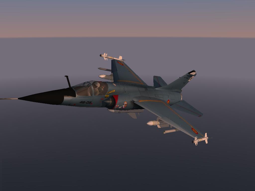 Ala 46 Mirage F1 skin con gunpod y fuel tanks