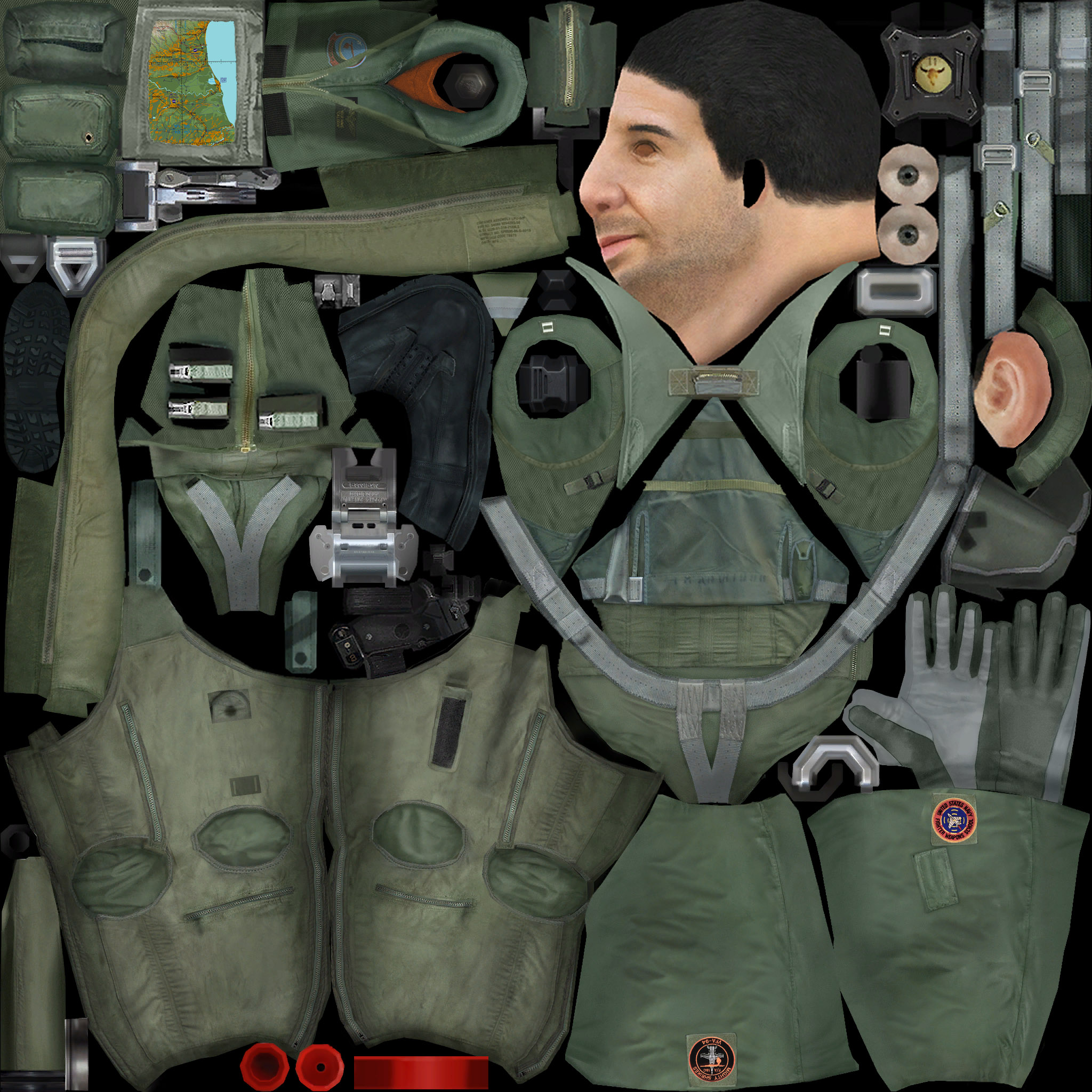 A-10 & F/A-18C Pilot Photoshop Template (2048x2048)