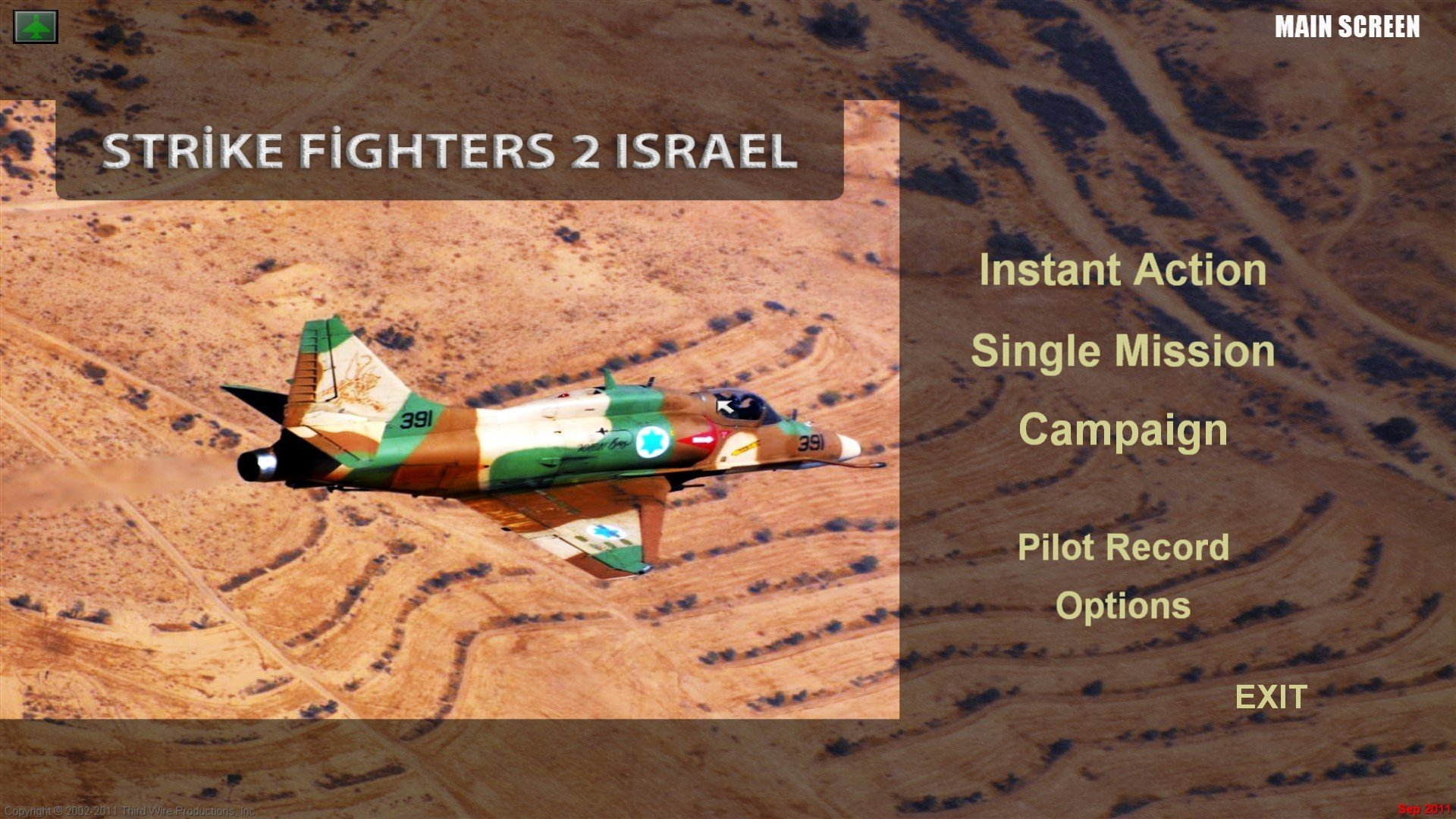 Strike Fighters 2 Israel Menu Screen 1920X1080