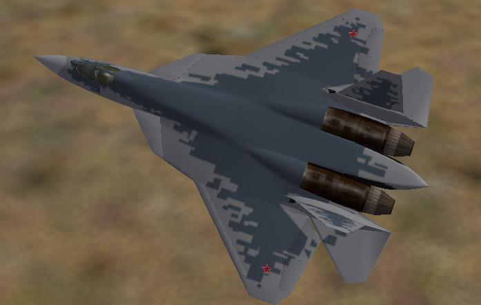 Sukhoi Su-57 (PAK-FA) T-50-10 Two tone pixelated livery.