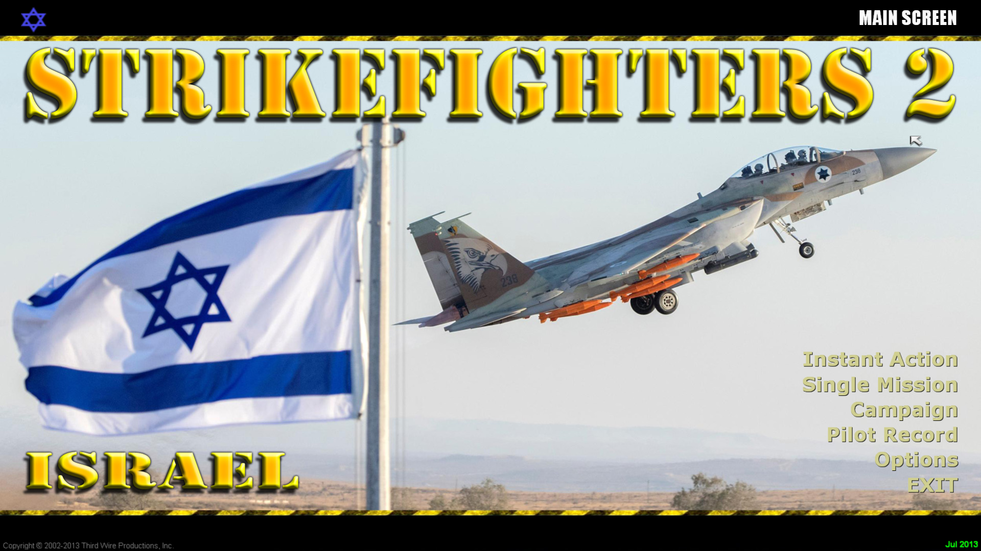 Strikefighters2 Israel Hi-Res 1920x1080 Menu Screens and Music!