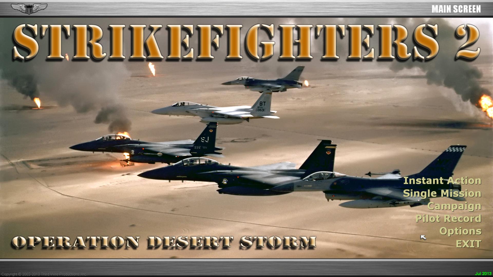 StrikeFighters2 Desert Storm Hi-Res 1920x1080 Menu Screens!