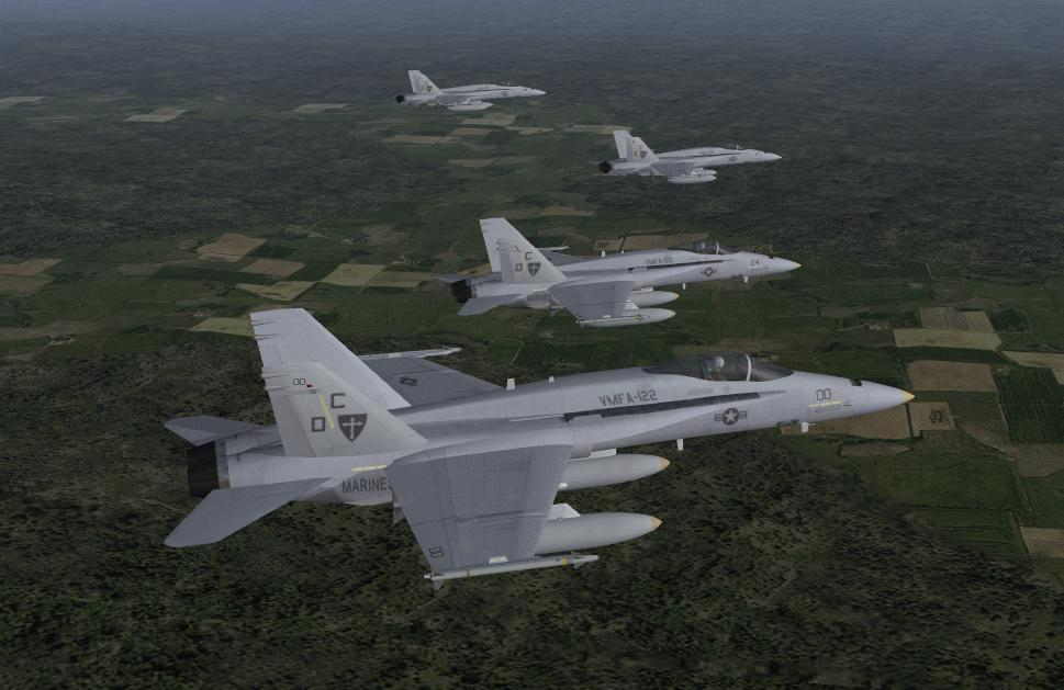 F/A-18A' s in flight over Germany
