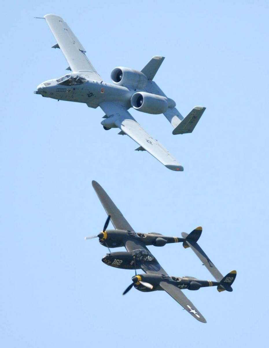 A-10 & P-38 over Columbia