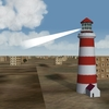 working lighthouse with rotating lightbeam