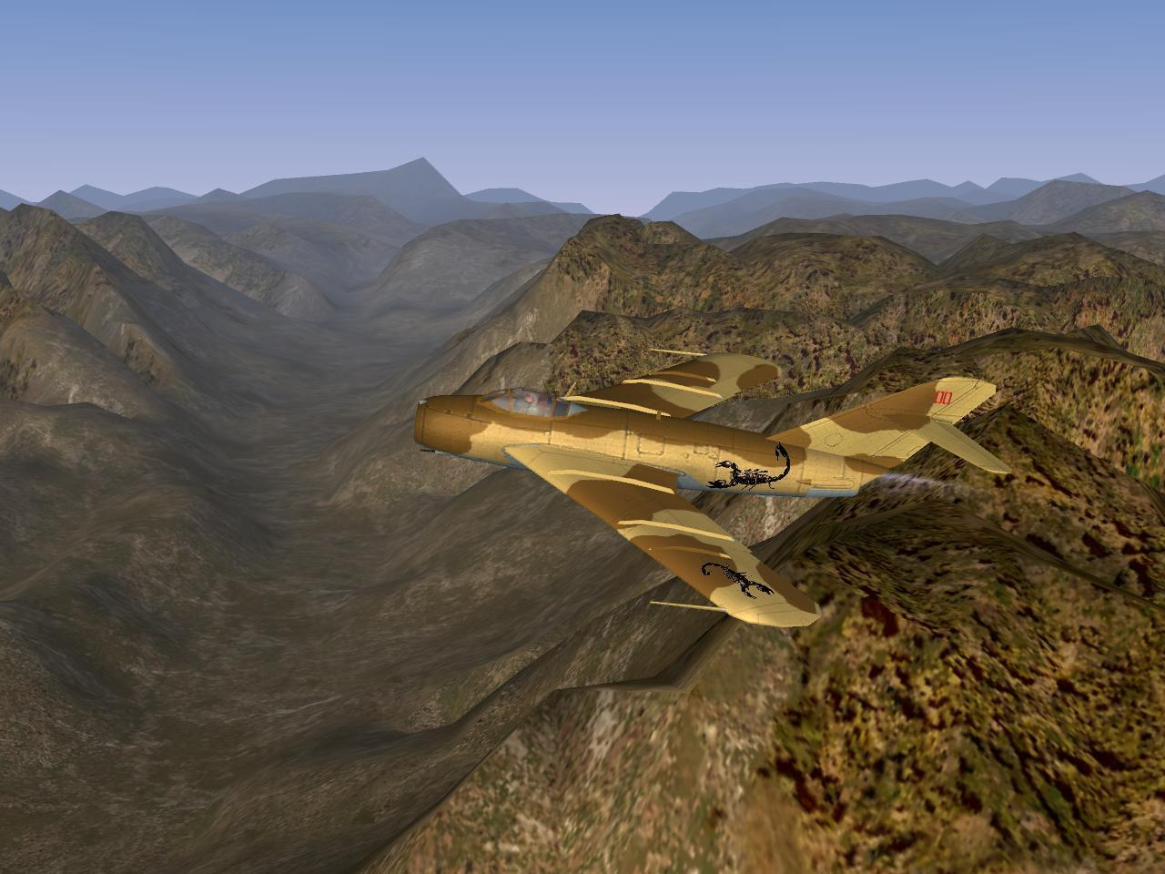 Scorpion squadron's MiG-17F flying over Desert Mountain