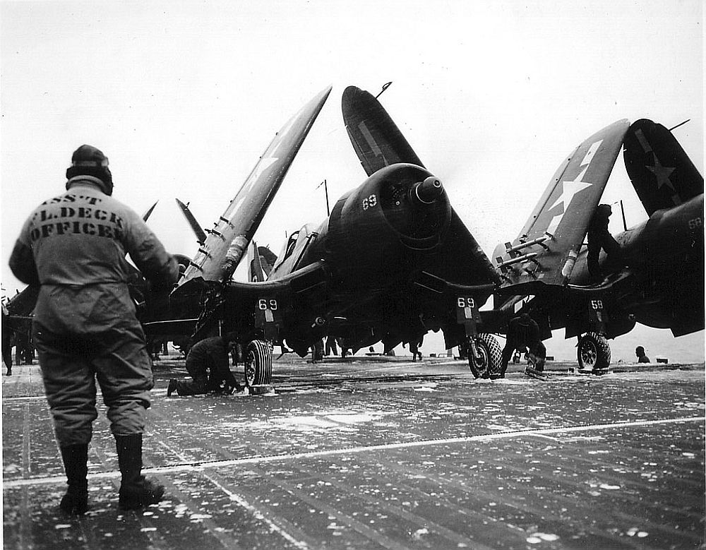 F4U-4's onboard the USS Midway circa 1946