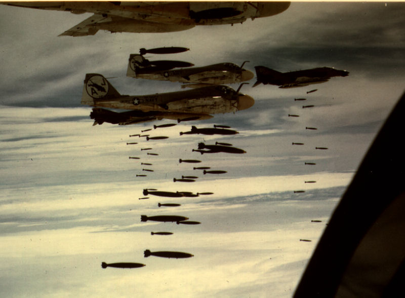 A-6A's of VA-35 and unknown F-4's bombing circa 1972