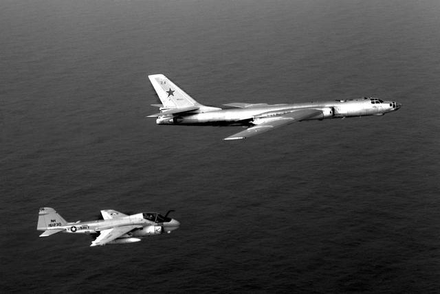A-6E intercepting a TU-16 Badger