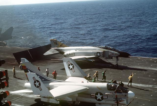A-7B and F-4B onboad the USS Coral Sea circa 70's