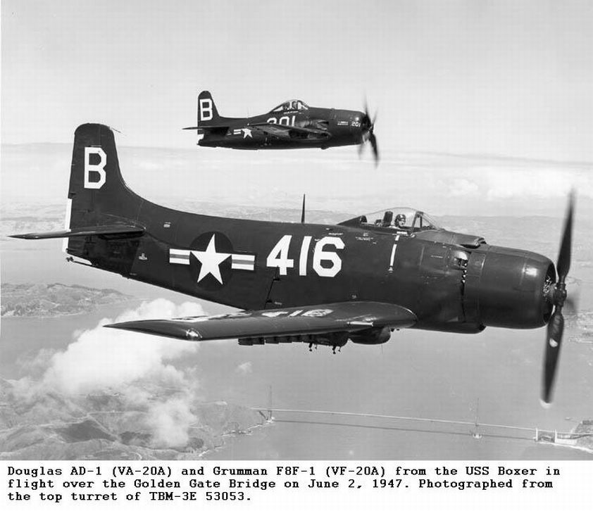 AD-2 and F8F-1 in flight over San Fransico
