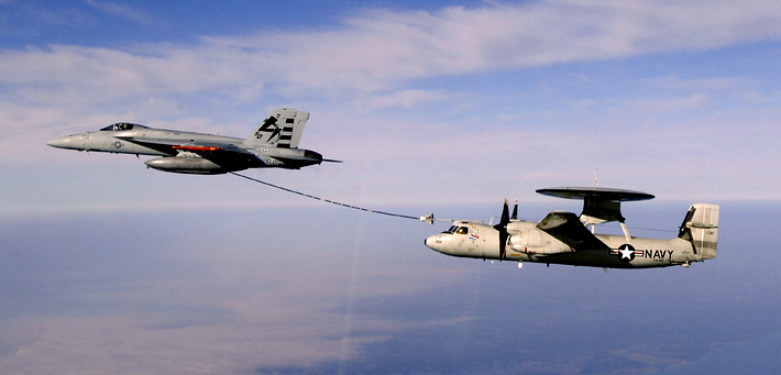 F-18E testing out inflight refueling a E-2C 2000 Hawkeye