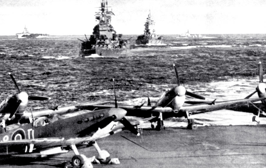 Royal Navy Seafires onboard an unknown RN Carrier