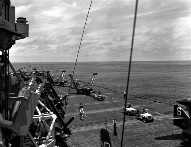 F9F-2 Panthers on deck of a Korean War era Carrier