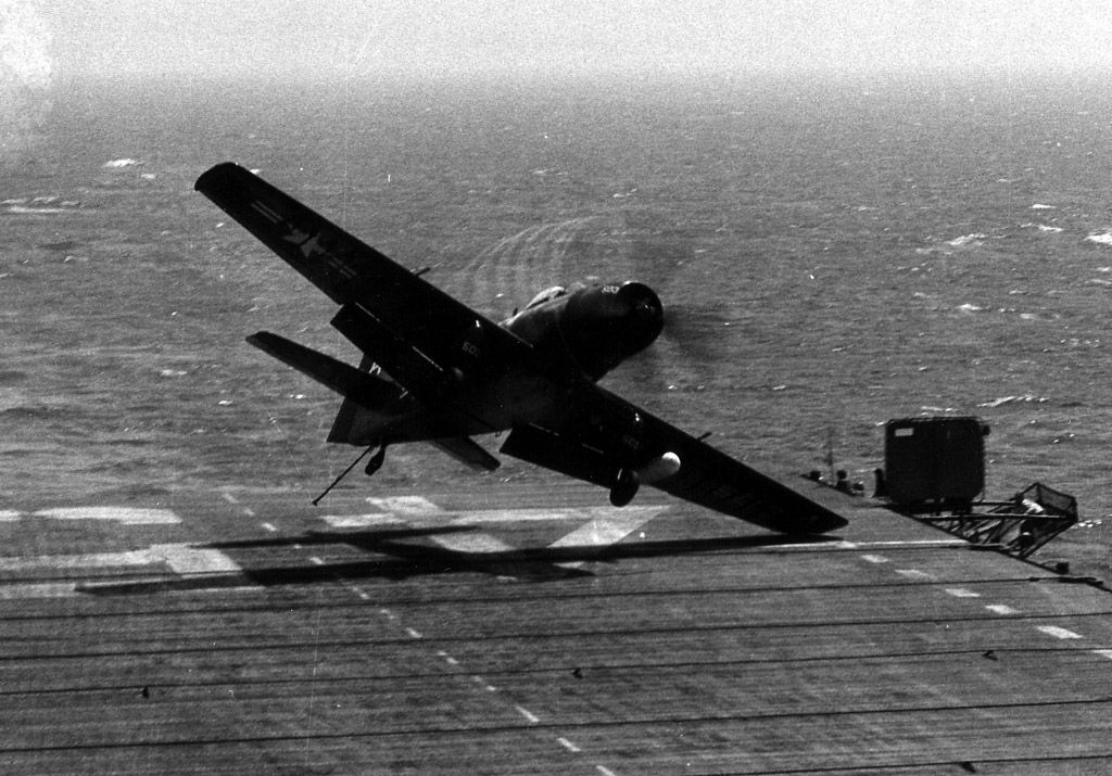 AD-4 coming in for a bad landing on board the USS Valley For