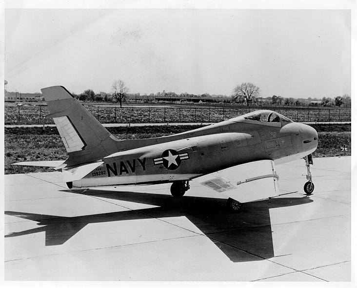 FJ-4 Fury sitting at the North American Aviation Factory