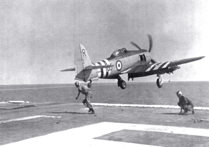 Royal Navy Sea Fury in action during Suez Crisis
