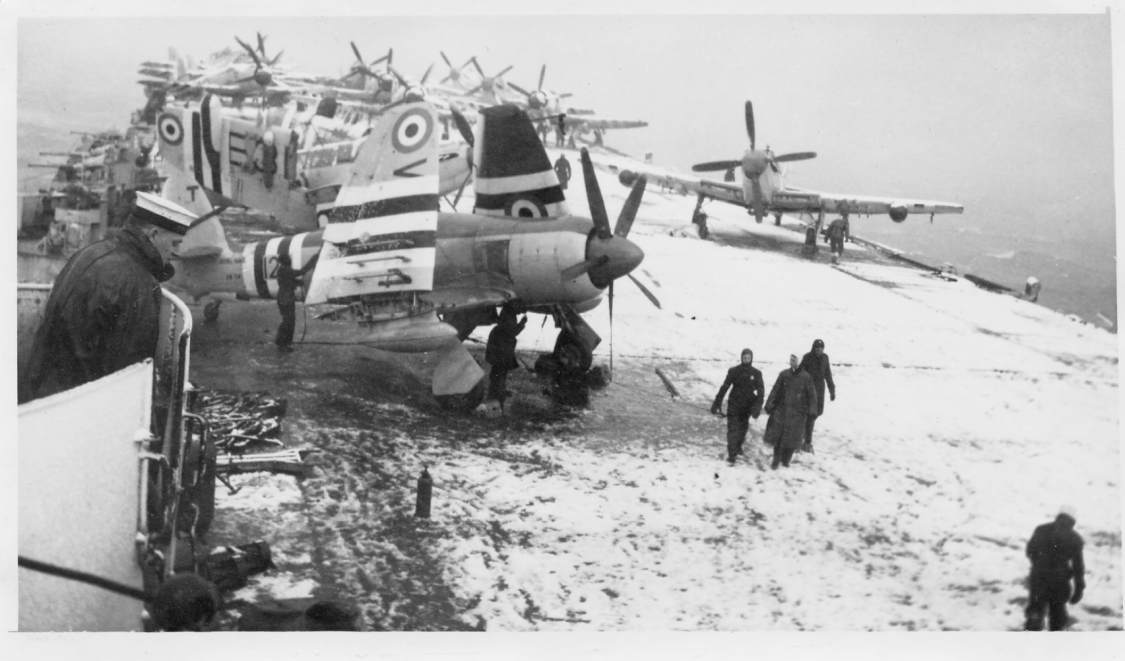 HMS Theaseus covered in Snow during the Korean War