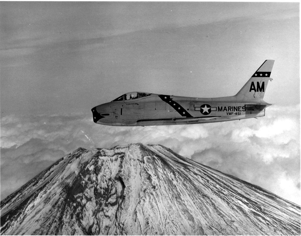 FJ-4 of VMF-451 over Mt. Fuji