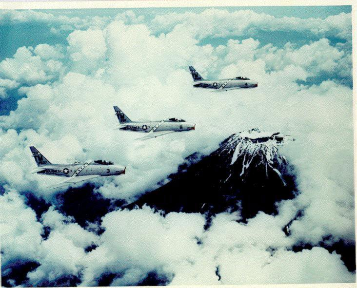 Marine FJ-4's over Mt. Fuji