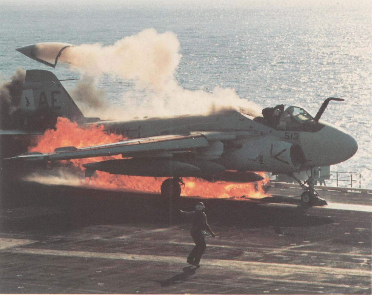KA-6D on fire on the catapult