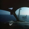 A shot from the cockpit of a EA-6B landing on a Forrestall c