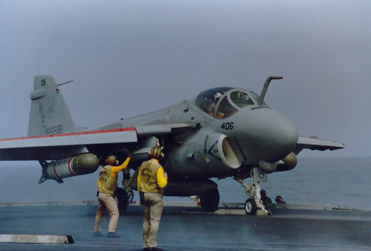 VA-155 Silver Fox A-6E loaded down with Mk56 Aerial Mine