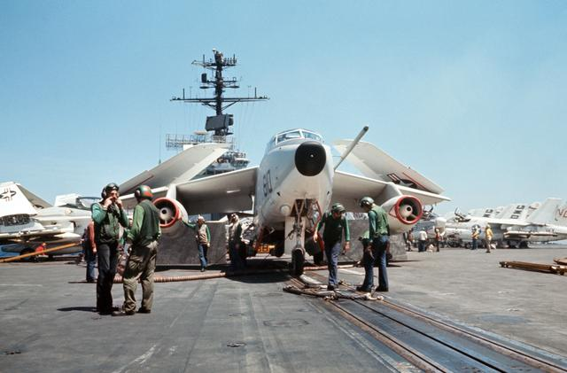 VQ-2 EA-3B Whale Waiting at a catapult onboard a US Navy air
