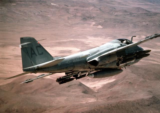 A-6E of VA-75 rolling into bomb a target at NAS Fallon circa