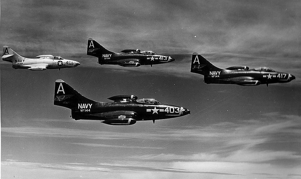 F9F-5 Panthers of VF-144 over NAS Cubi Point