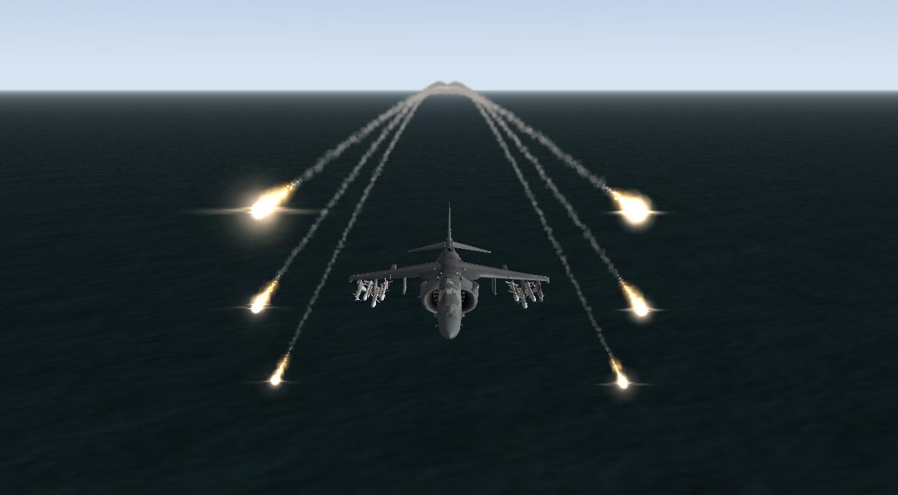 AV-8B deploying flares.