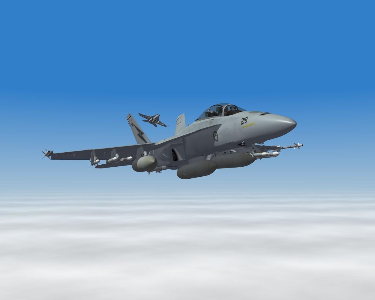 Cruising above the clouds in my RAAF F/A-18F Super Hornet.