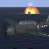 Avenger hits Japanese ship with torpedo.