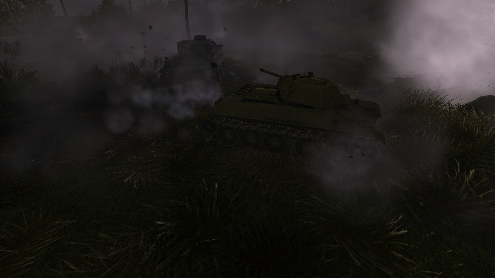 GT:OS - close combat between T-34s and Tigers