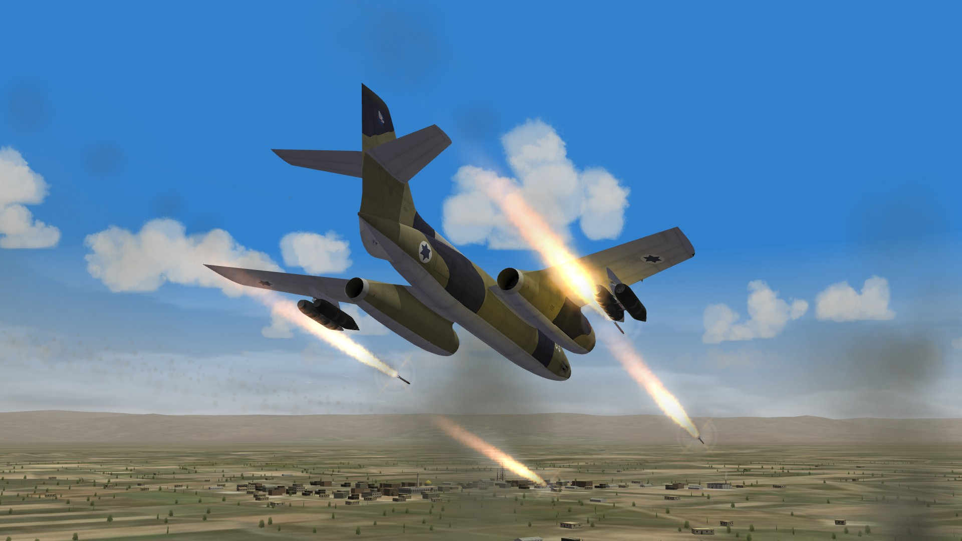 Vautour IIA strafing with rockets six days war