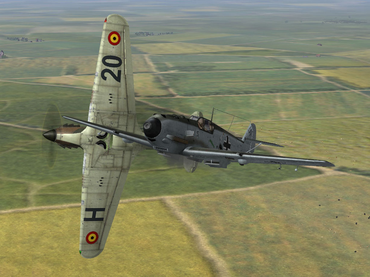 Hurricane MK1 in very close dogfight with Bf109e over Belgium may 1940