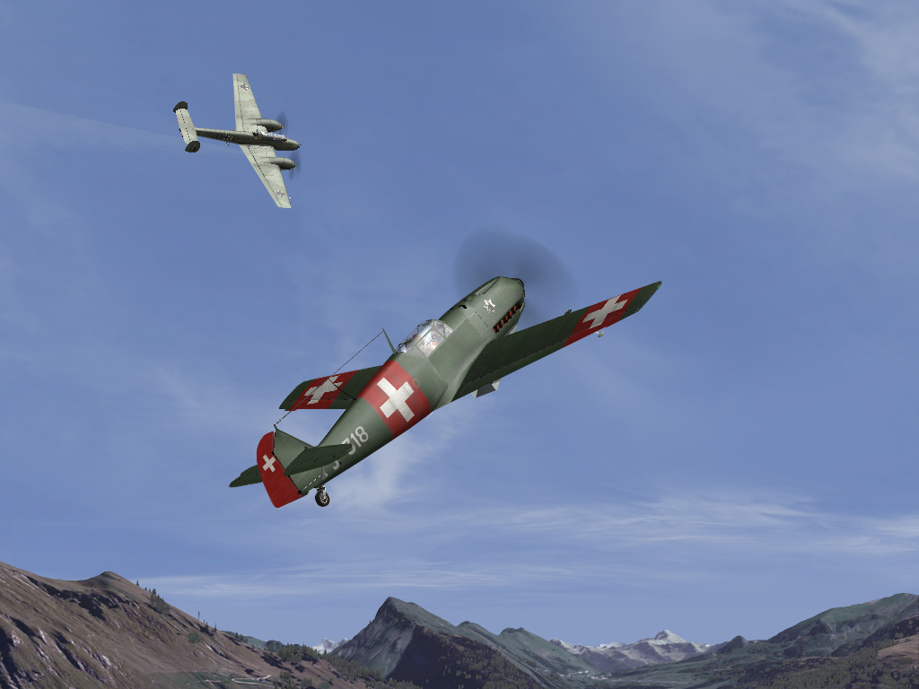 Swiss 04/06/1940 Bf109 E3 of Fl.Kp.9 against Bf110 C1 of II/ZG1