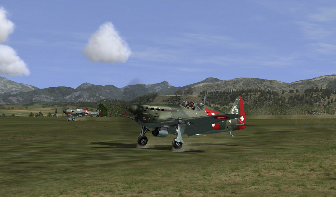 Scramble! incoming bogeys crossing the border. MS406 and Bf 109E taking off Swiss 05/1940