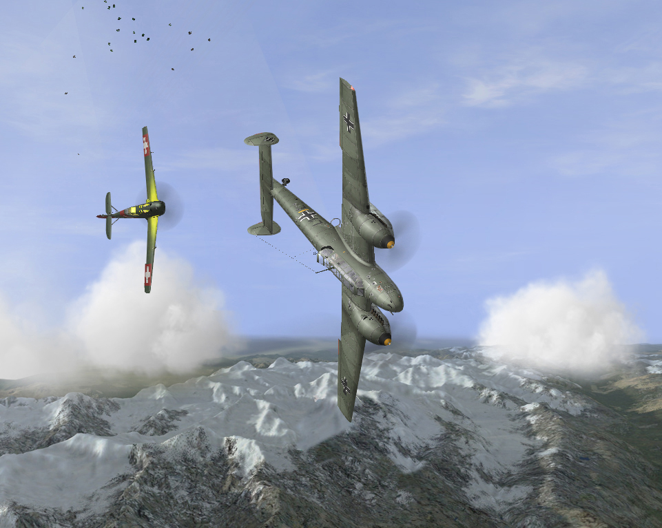 Swiss 04/06/1940 Bf109 E3 of Fl.Kp.9 dogfighting with Bf110 C1