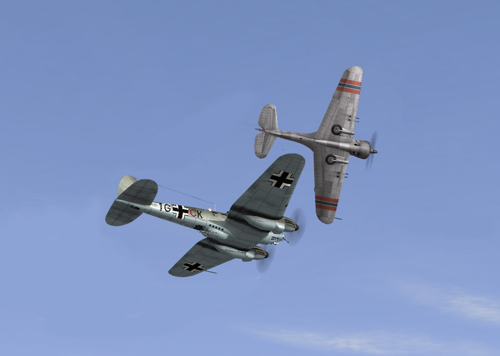 Norvegian P36 in a close pass against an He111.
