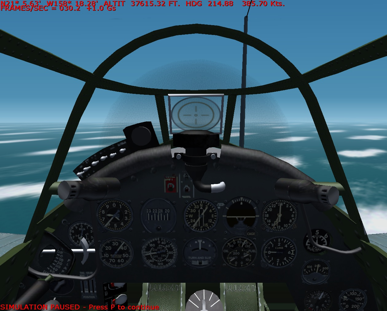 F4U 1 In cockpit Top Speed
