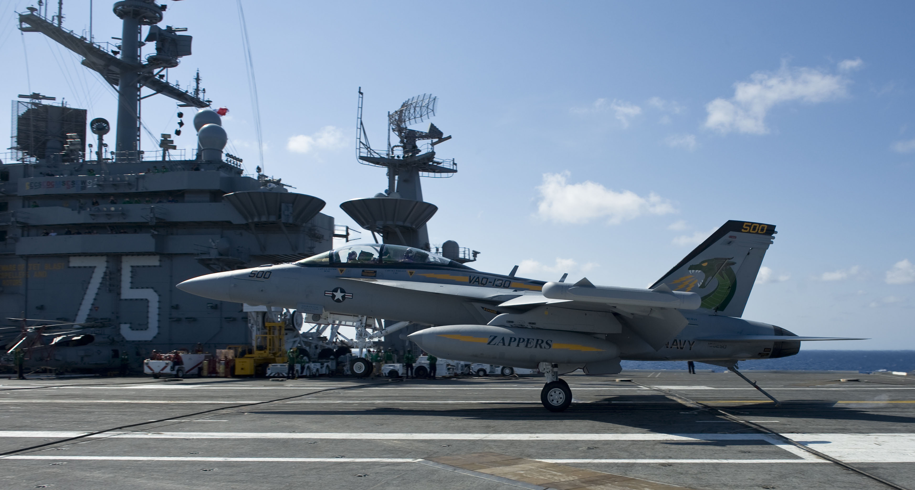 EA-18G Growler lands aboard the USS Harry S. Truman CVN 75