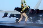F/A-18 Hornet being launched off the deck of the USS Harry S Truman CVN 75