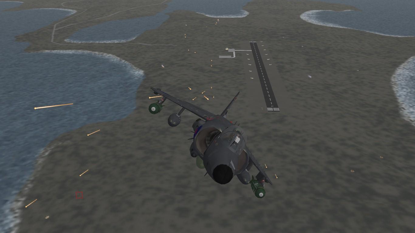 South Atlantic Terrain: Sea Harrier attacking BAM Malvinas.