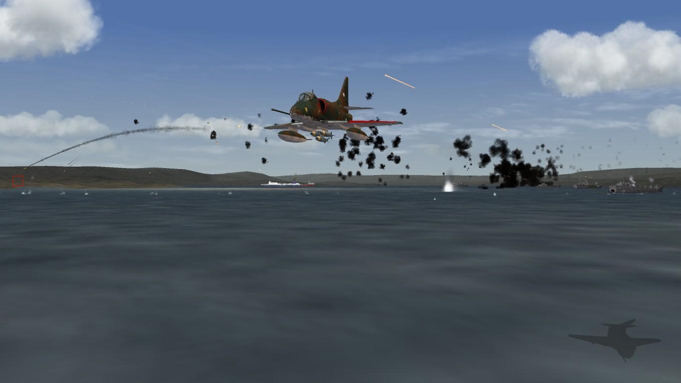 South Atlantic Terrain: A-4B Skyhawk fliyng over San Carlos water.