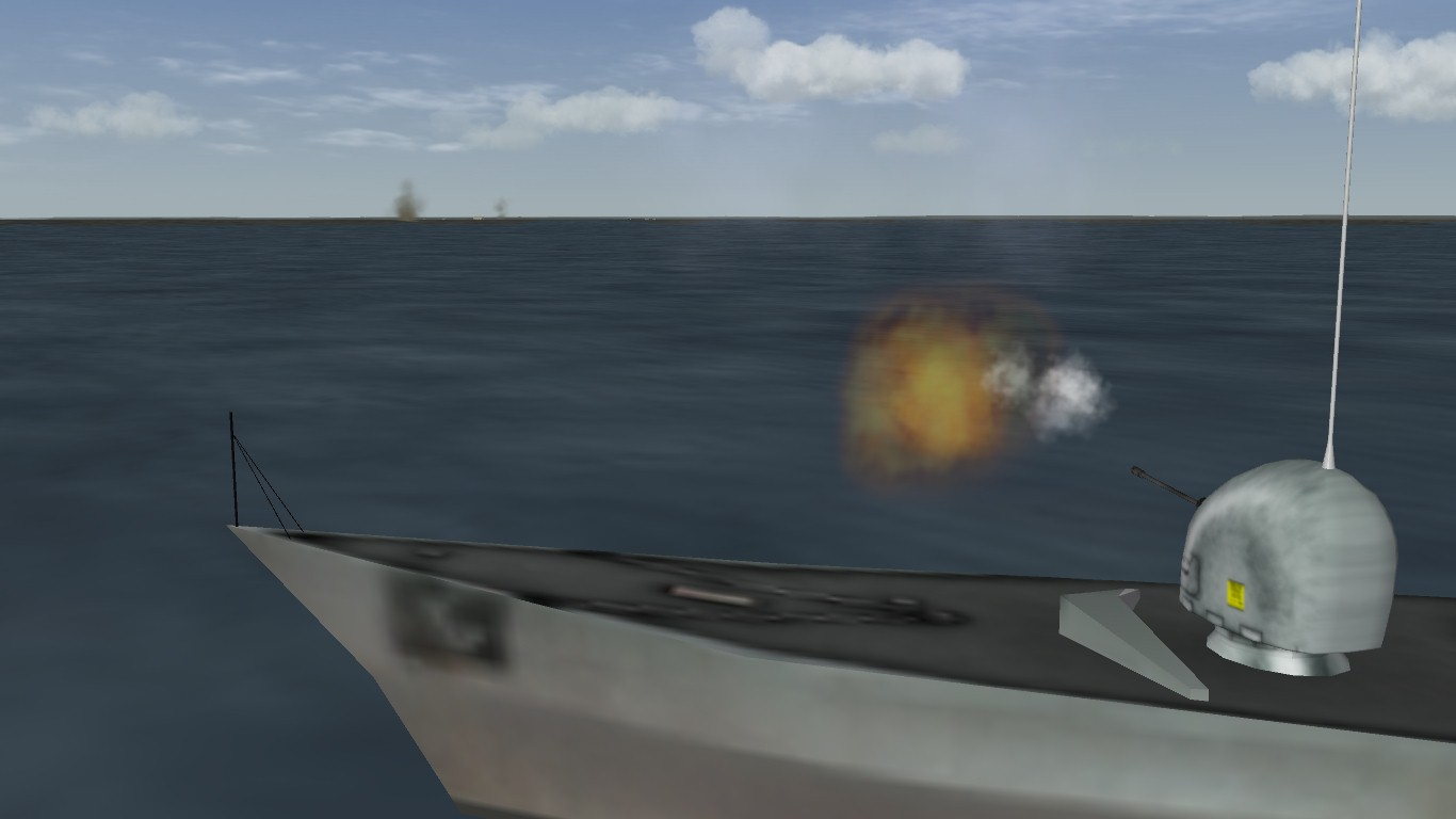South Atlantic Terrain: Fire support from a british frigate.