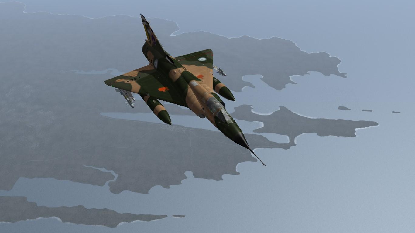 South Atlantic Terrain: Banidos Team Mirage IIIEA flying over Puerto Argentino/Port Stanley