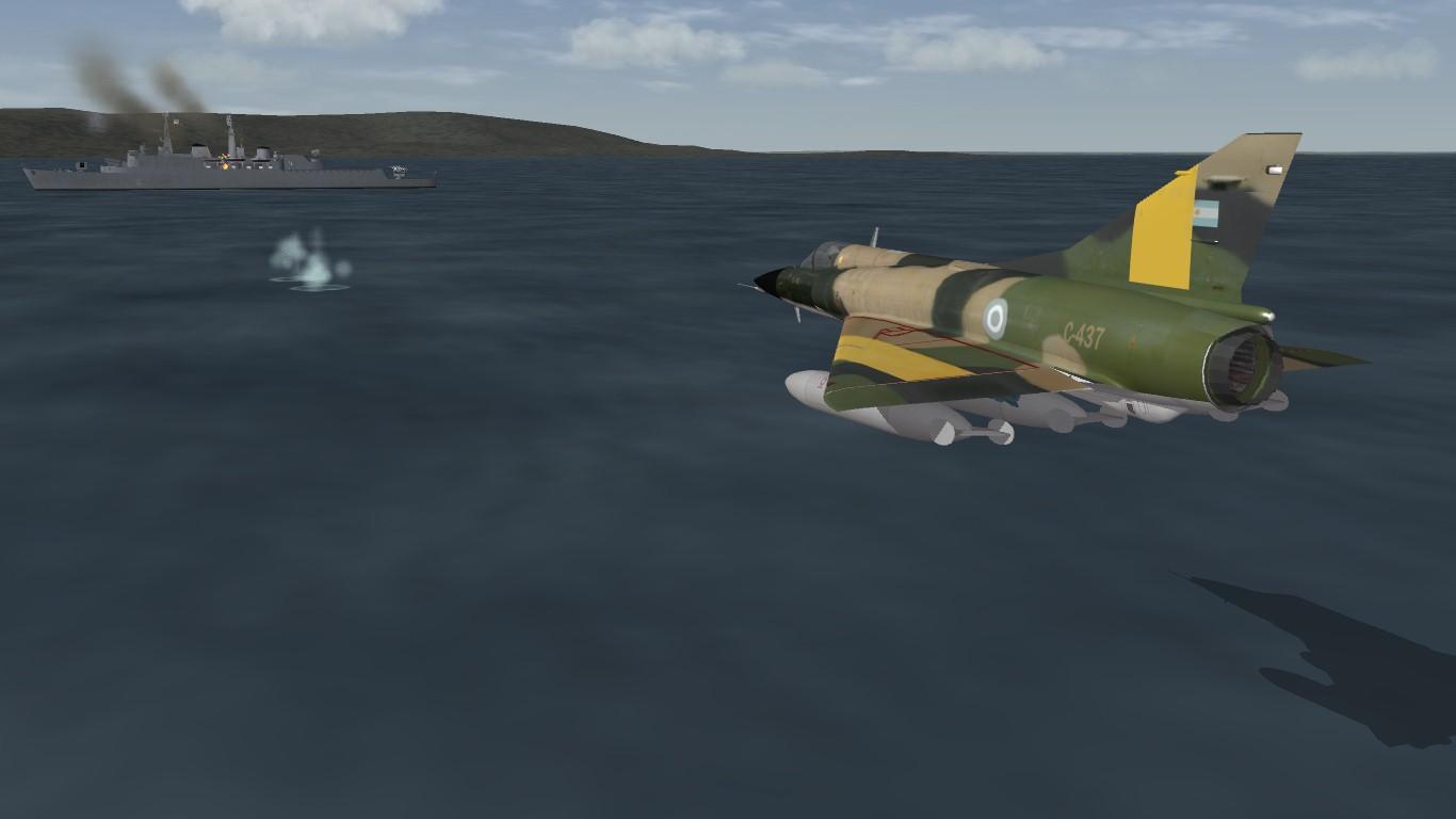 South Atlantic Terrain: Dagger against HMS Antrim.