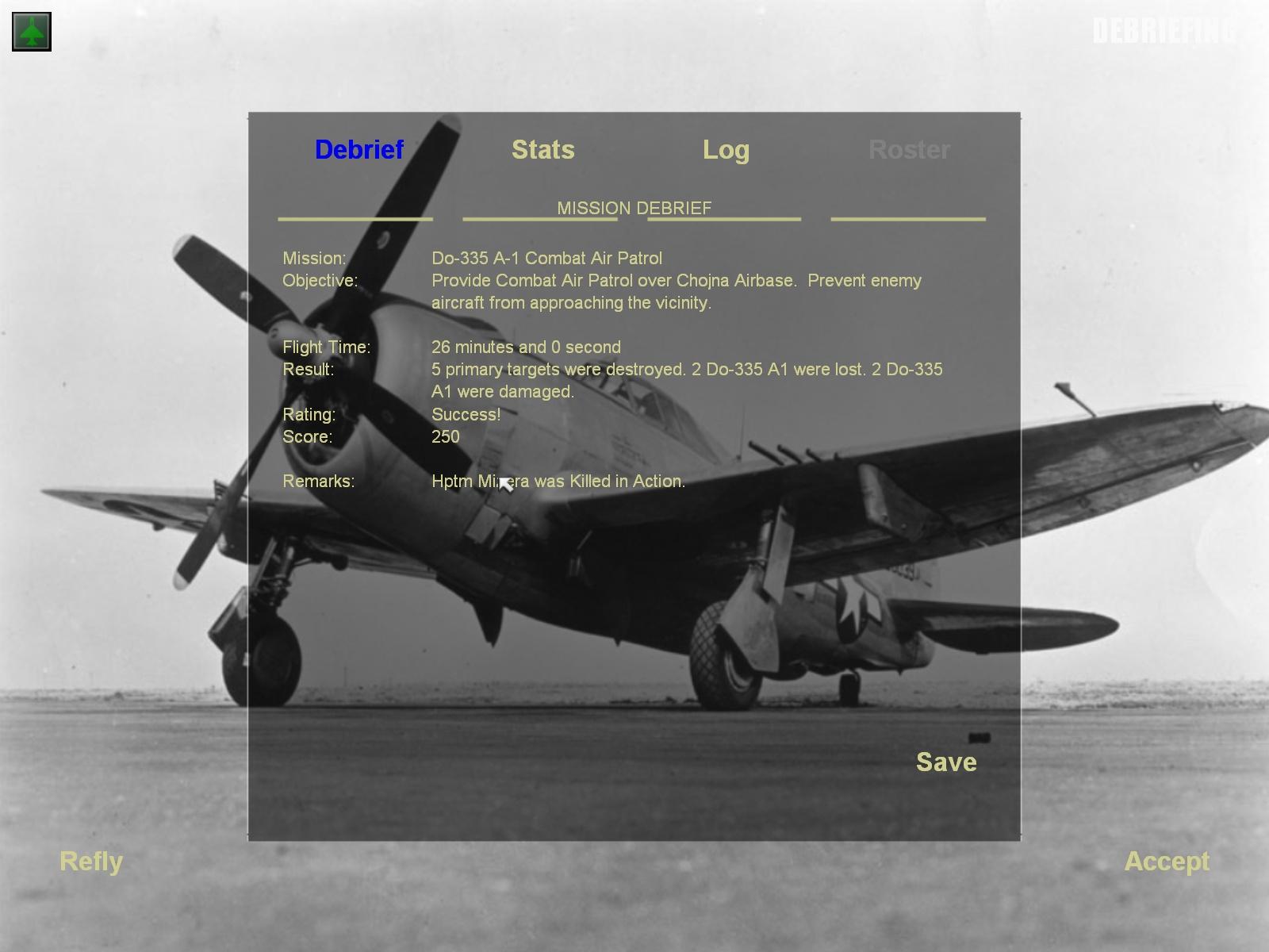 MENU debrief screen