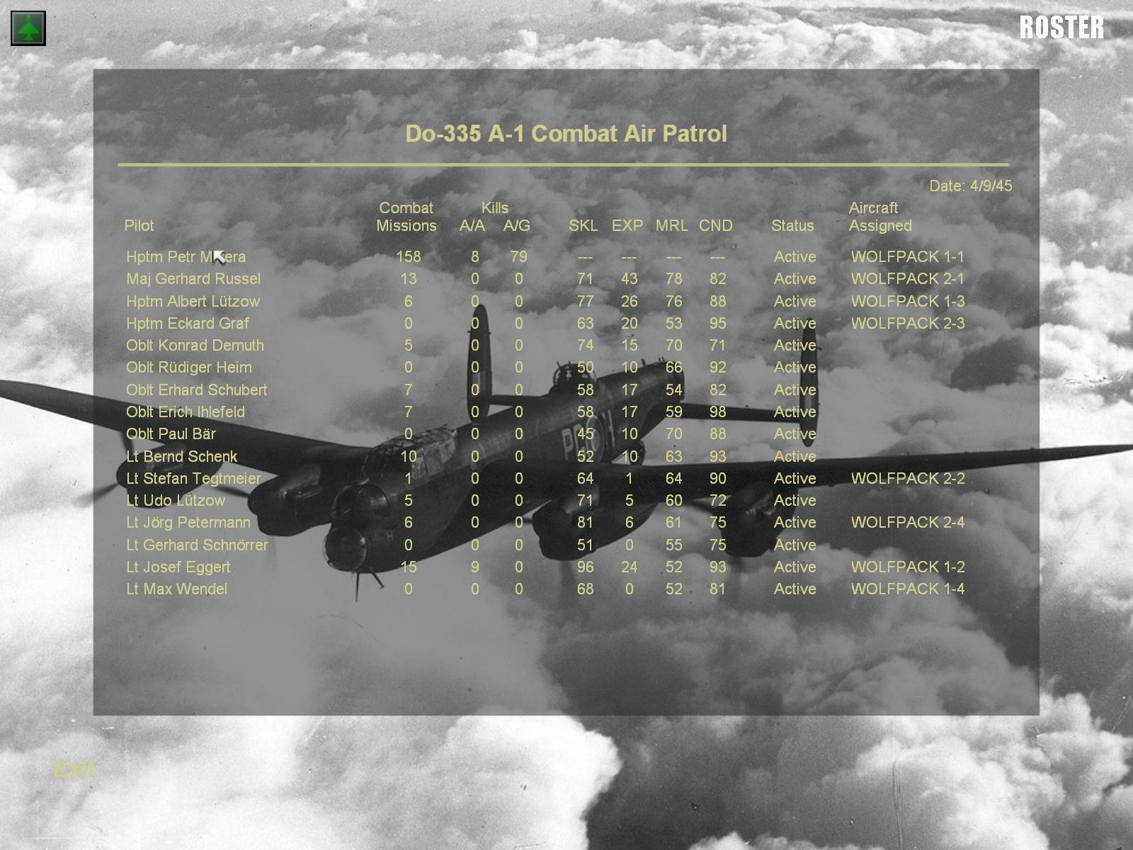 MENU roster screen